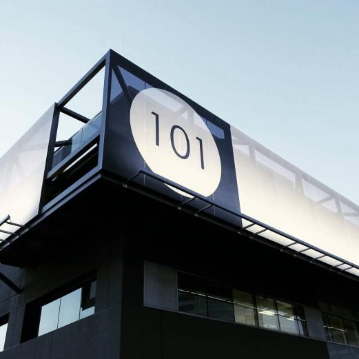101 Sepulveda at dusk. . . . . #shubindonaldson #101 #elsegundo #facidsystem #ferrarifabric #screen #architecture #balcony #design